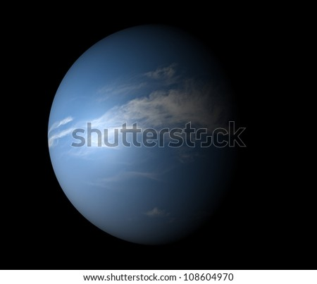 An Earth-like planet beyond our solar system. Isolated on black. 3D render.