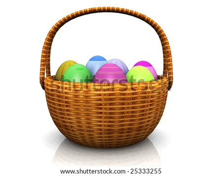 An easter basket full of eggs in different colors.