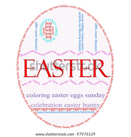 An Easter Egg word cloud with great terms such as Easter, Sunday, bunny, eggs, baskets and more.
