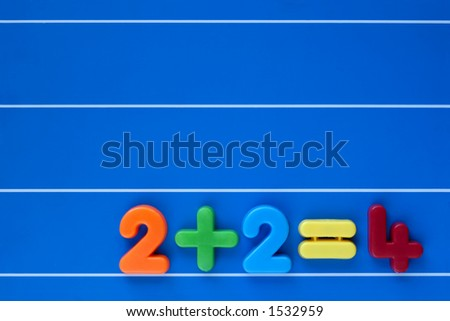 An easy sum, from a child's toy number set, placed at bottom left on a blue, lined background. Space for text top right.