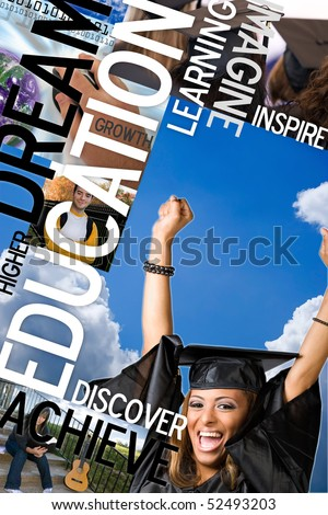 An education montage or layout with photos and text of students and graduates Plenty of copyspace for your text or logo