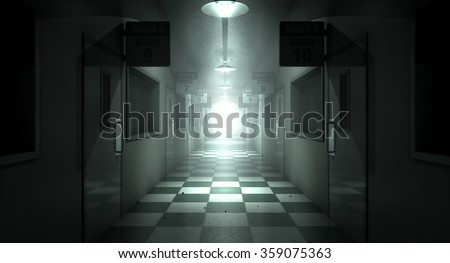 An eerie haunted look down the dimly lit passage of a dilapidated mental asylum with rooms and signs Stock photo ©