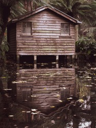 An eerie looking boat shack with water reflection in Sherbrooke, Victoria, Australia. The autumn season gives sepia tint to the image. Suitable for Halloween themed artwork background