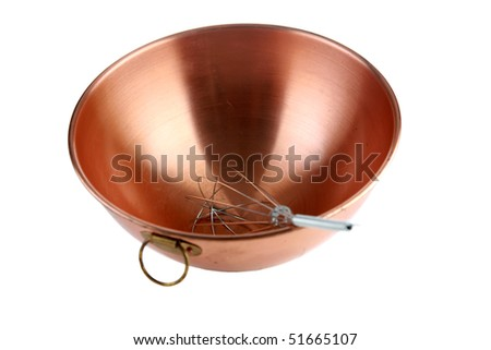 an egg in a copper mixing bowl isolated on white with room for your text or images
