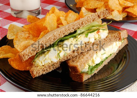 An egg salad sandwich and chips