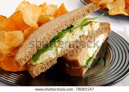An egg salad sandwich on multigrain bread
