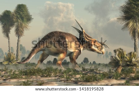 An Einiosaurus in a swampy lowland. Einiosaurus was a ceratopsian dinosaur, like the triceratops, from the Cretaceous period. 3D Rendering