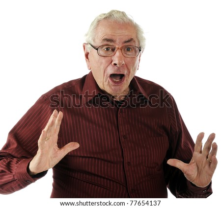 An elderly man looking extremely surprised.