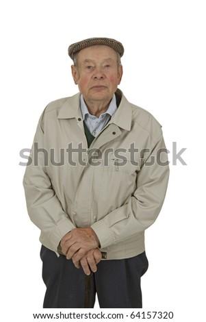 An elderly man walking stick isolated on white. - stock photo