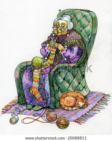 An elderly woman (grandmother) binds the coloured long stocking - is a picture by crayons