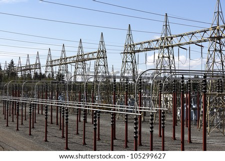 An electrical power sub station located in Everett, Washington, USA, on a nice sunny day