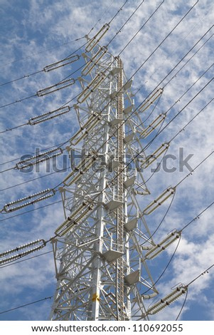 An electricity power tower on the blue sky day
