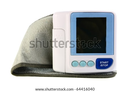 an electronic device reading blood pressure isolated on white background