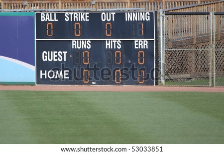 An electronic scoreboard at a baseball stadium. - stock photo