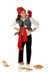 An elementary girl dressed as a pirate, giving the eye to the parrot sitting on her shoulder.  Isolated on white.