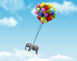An elephant being lifted by balloons