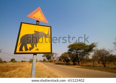 An elephant crossing sign in Zimbabwe