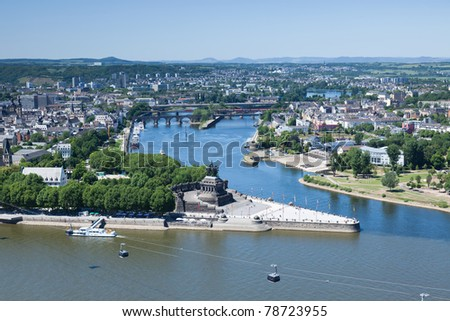 An elevated view of Koblenz and the German Corner (Deutsches Eck) where the rivers Rhine and Mosel meet.