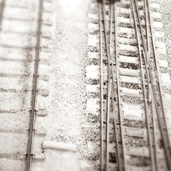 an elevated view of railway in winter time