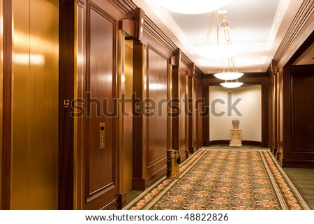 An elevator lobby with carpet and modern lighting