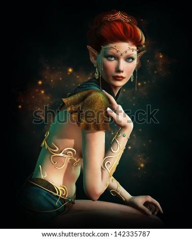 an elven princess with golden...