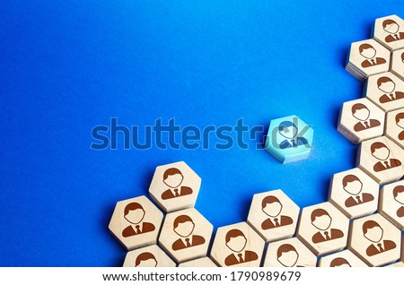 An employee leaves a large group of people. Exit from mainstream society. A talented employee, professional growth, search for a new promising job. Training courses. Change and striving for the best. Stock photo ©