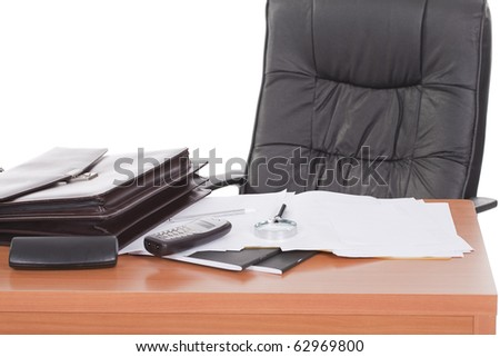 An empty and executive desk