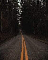 An empty and moody dark road surrounded by creepy woods in Ohio, USA.