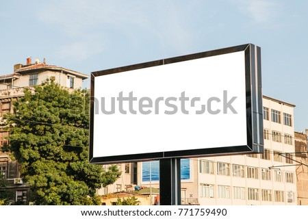 An empty billboard for outdoor advertising in Istanbul, Turkey. Street advertising.
