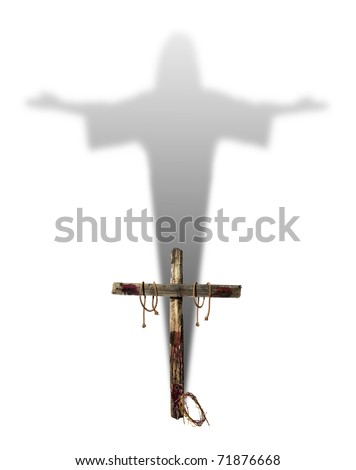 An Empty Bloody Cross Casting The Shadow Of Jesus Christ ...