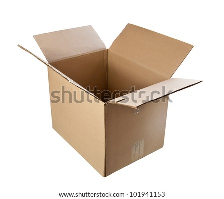 An empty cardboard box isolated on white.