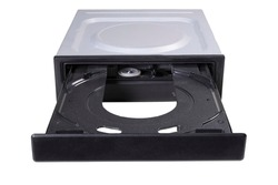 An empty CD reader tray is open. Computer accessories for recording and reading computer data. Isolated background.