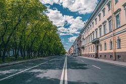 An empty city without people. Street of the historical center of St. Petersburg. Saint-Petersburg. Russia.