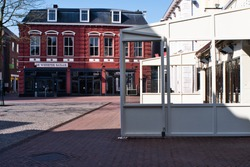 An empty citylife with closed cafetaria's in Weert at 27 march 2020