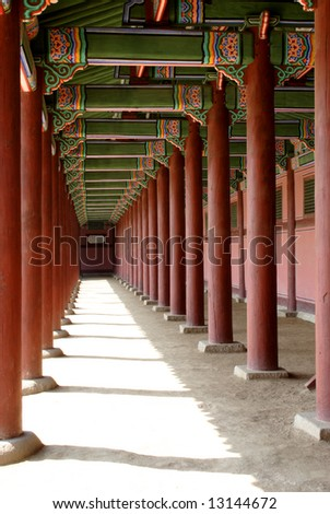 An empty corridor at Kyoungbok Palace in Seoul, Korea.