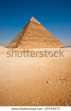 An empty desert in front of the Pyramid of Khafre in Giza, Cairo, Egypt