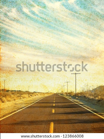 an empty desert road in arizona'...