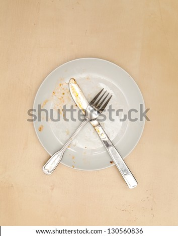 An empty dirty plate,  View from above