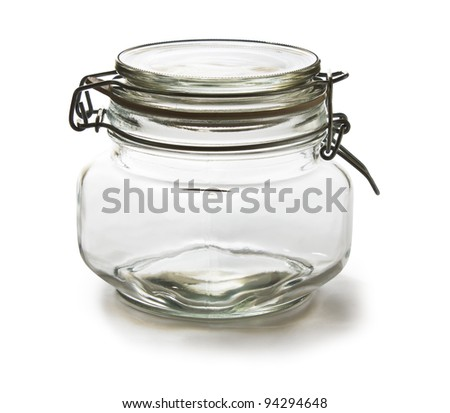 an empty glass jar on white background