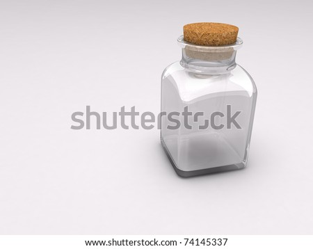 An empty glass medicine bottle with cork stopper over shaded white background
