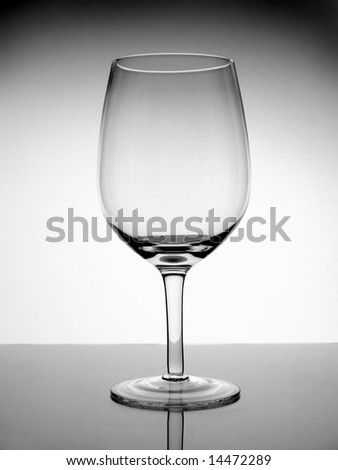 An empty glass wine on white background.