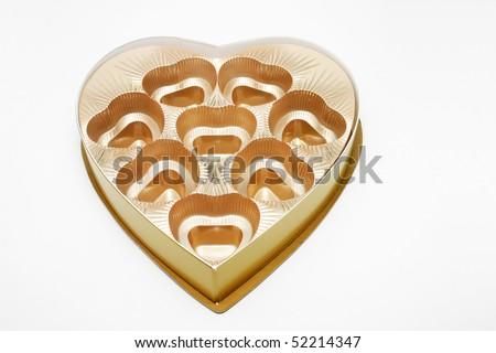 An empty golden heart shape chocolate box.