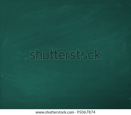 An empty green blackboard, a little bit dirty, for your own presentation