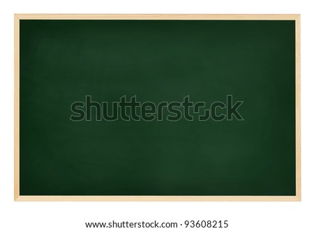 An empty, green chalkboard isolated on white - stock photo