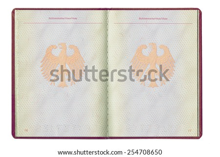 An empty inside page of a German passport, full open, blank for visa, isolated on white background, closeup