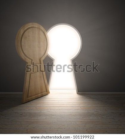 An empty interior with a door shaped like a keyhole