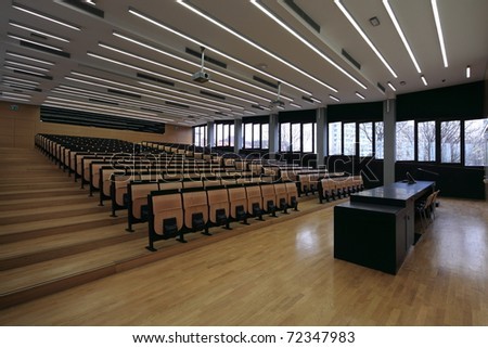 An empty lecture hall in a University