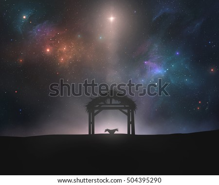 An empty manger and stable under the star of Bethlehem