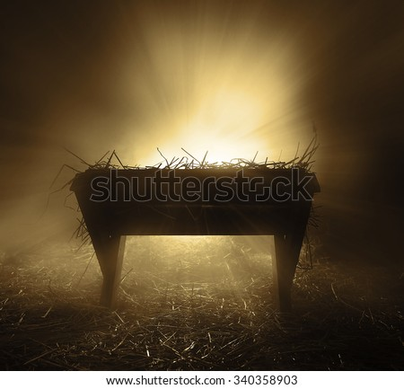 An empty manger at night with bright lights. Stock photo ©