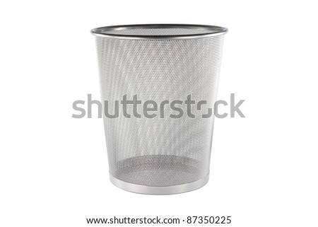 An empty metal trashcan (bin) isolated on white background